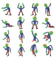 Zombie poses icons set cartoon style