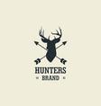 hunting deer silhouette design logo vector image