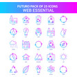 25 blue and pink futuro web essential icon pack vector image