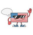 american flag with sunglasses and speech bubble vector image vector image