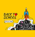 back to school with rocket and doodles background vector image vector image