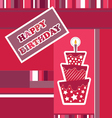 Birthday card with cake and candle vector image vector image