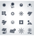 black solar energy icon set vector image vector image