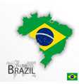 brazil flag and map vector image vector image
