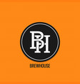 brew house logo design beer label concept b and vector image vector image