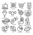 business management line icons marketing and cost vector image vector image