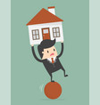 businessman balancing on ball with house on vector image vector image