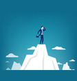 businessman standing on top of the mountain vector image vector image