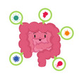 cartoon happy human intestine with good vector image vector image