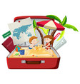 children on the beach in luggage vector image vector image