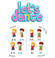 children with different dance move vector image