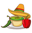 chili pepper guacamole hat mexican food vector image