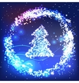 Christmas greeting card with shiny tree vector image vector image