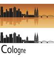 cologne skyline in orange background vector image vector image