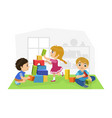 cute boys and girl sitting on floor and playing vector image