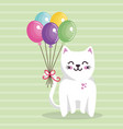 cute cat sweet kawaii with balloons air birthday vector image
