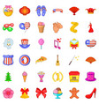 decoration icons set cartoon style vector image vector image