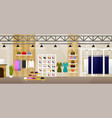 fashion shop interior clothes store banner with vector image vector image