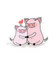 funny pig with baby piggyadorable animal family vector image