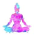 girl in lotus pose over ornate round mandala vector image