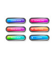glass rectangular buttons with rounded corners vector image vector image