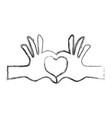 hands heart shape vector image vector image