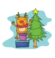 Happy deer with gift character Christmas vector image