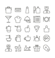 Icon set for restaurant in thin line style vector image vector image