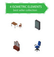 isometric furniture set of office drawer chair vector image vector image