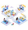 kindergarten online isometric concept vector image