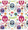 Mexico pattern with skull and flowers vector image vector image