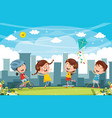 of kids playing at park vector image vector image