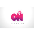 on o n letter logo with pink purple color and vector image vector image