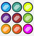 Paper Clip icon sign Nine multi-colored round vector image vector image