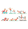 parents with kids doing fitness exercises together vector image vector image