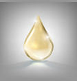 realistic gold glass drop of cosmetic oil vector image