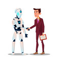 robotics and high technology the robot shakes vector image vector image