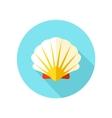 Seashell flat icon with long shadow vector image vector image