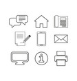 set contacts message online icons vector image vector image