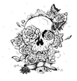Skull and Flowers Day of The vector image vector image