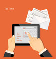 tax time with april 2019 page in tablet and vector image vector image