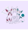 Three thin line cats vector image