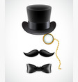 Vintage silhouette of top hat mustaches monocle vector image vector image