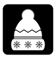 Winter hat symbol button vector image vector image