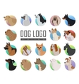 Set of Dog Logos in Flat Style Design vector image