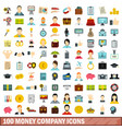 100 money company icons set flat style vector image