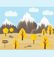 autumn landscape in flat style mountains and vector image vector image