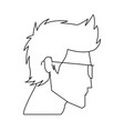 avatar head guy young glasses profile outline vector image vector image
