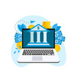 bank building exterior in screen device with money vector image