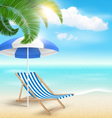 Beach with Palm Clouds Sun Beach Umbrella and vector image vector image